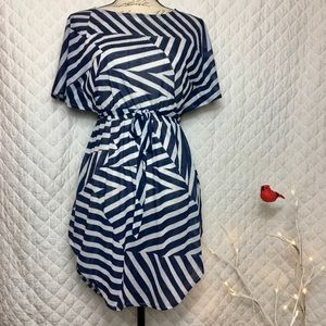H&M Patchwork Stripes Sheer Coverup Beach Dress XS